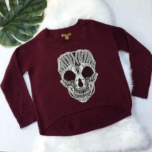 Love By Design Skull Lace Appliqué Sweater Wine L